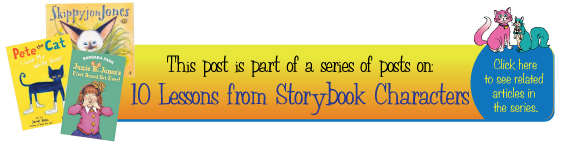This is blog is part of the 10 Teaching Lessons from Favorite Storybook Characters from Kat and Squirrel