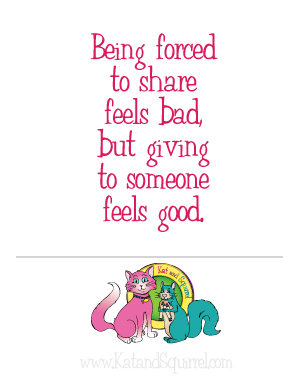 Being forced to share feels bad, but giving to someone feels good.