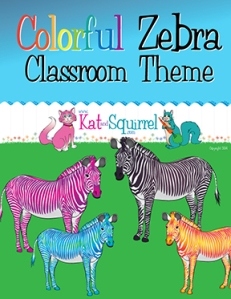 Colorful Zebra Classroom Theme Art - Kat and Squirrel