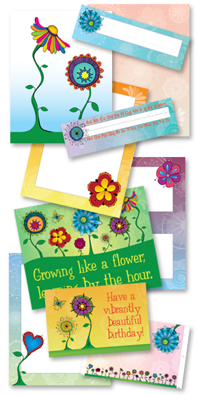 Kat and Squirrel Funky Flowers Classroom Theme Artwork